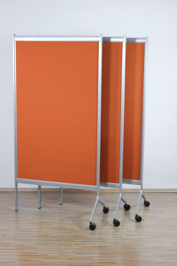 1x sedus stell trenn wand segment raumteiler auf rollen b ro pin wand orange ebay. Black Bedroom Furniture Sets. Home Design Ideas