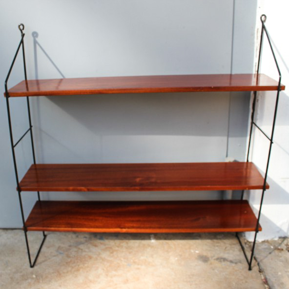 wohnz b ro string wand regal draht teak holz shelf vintage 60er 70er jahre ebay. Black Bedroom Furniture Sets. Home Design Ideas