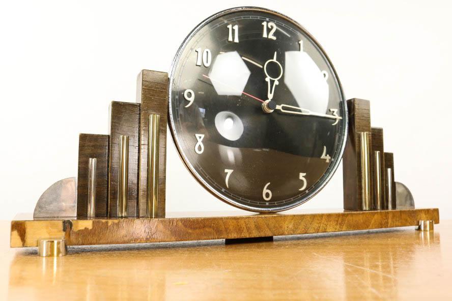 art deco tisch kamin uhr top 30er jahre design holz glas vintage desk clock ebay. Black Bedroom Furniture Sets. Home Design Ideas