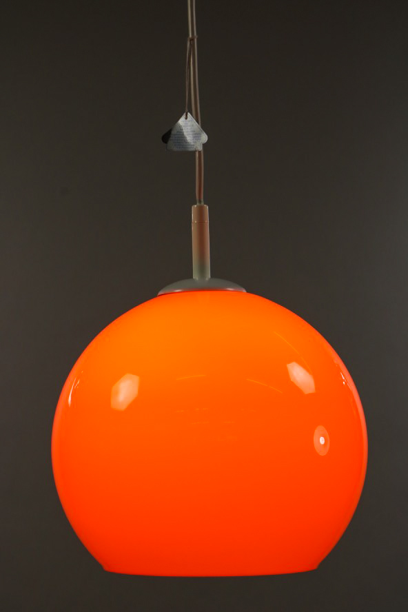doria glaskugel lampe orange pendel leuchte neuwertig aus. Black Bedroom Furniture Sets. Home Design Ideas