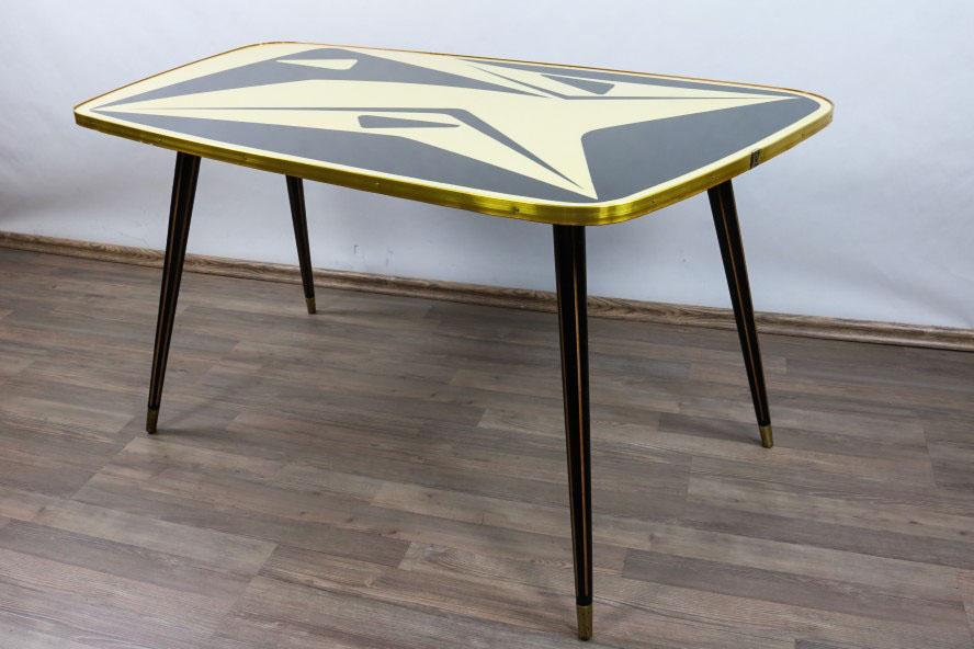 alter couch nieren tisch gelb schwarz wohnzimmer organisch grafisch 50er jahre ebay. Black Bedroom Furniture Sets. Home Design Ideas