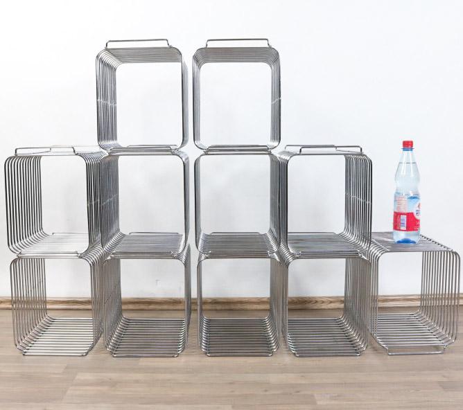 draht gitter regal system modular chrom wand boden 11teilig vintage 70er jahre ebay. Black Bedroom Furniture Sets. Home Design Ideas