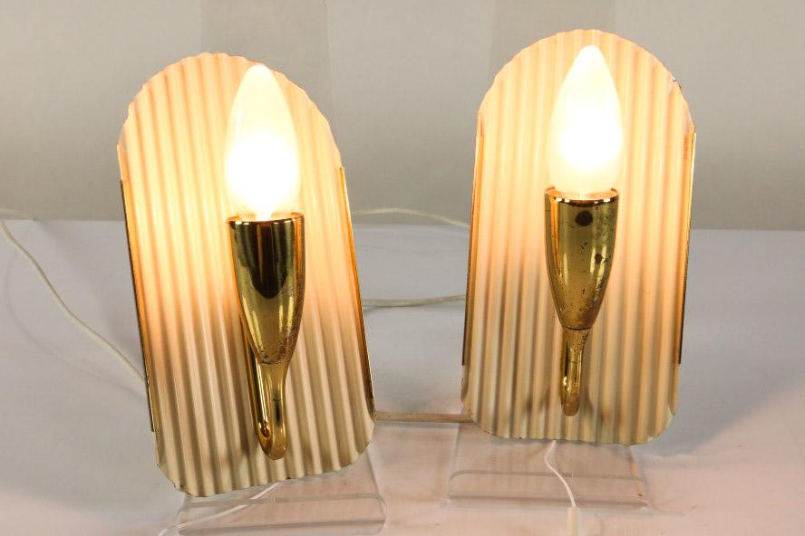 wand lampen paar zugschalter leuchten messing auf wellblech 50er jahre ebay. Black Bedroom Furniture Sets. Home Design Ideas