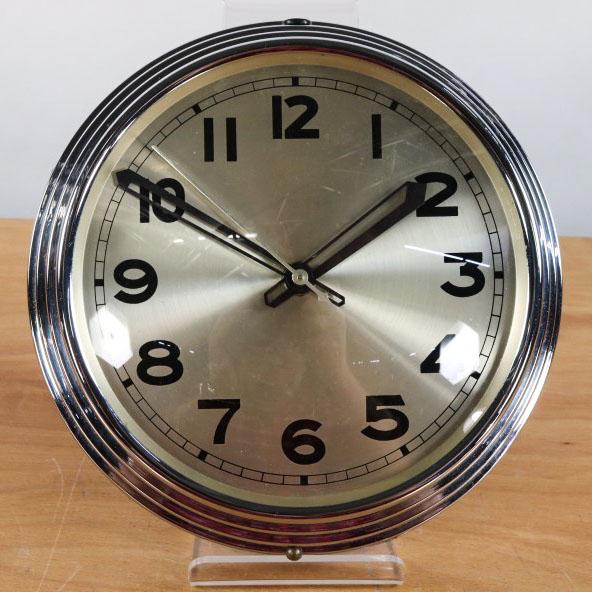 art deco wand uhr 220v chrom glas vintage bauhaus wall clock 25cm. Black Bedroom Furniture Sets. Home Design Ideas