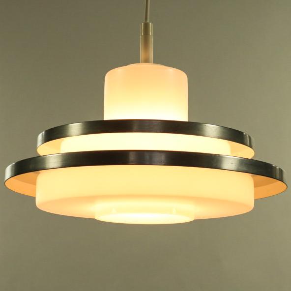 Doria Glas Alu Lamellen Pendel Leuchte Hänge Lampe Vintage